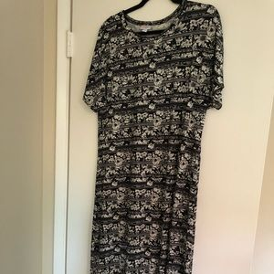 LulaRoe Maria Maxi Dress XL Black Floral